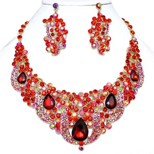 Multicolor Red Rhinestone Teardrop Crystal Necklace and Earring