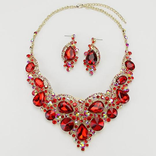 Other Multicolor Red Rhinestone Teardrop Crystal Necklace and Earring Image 1