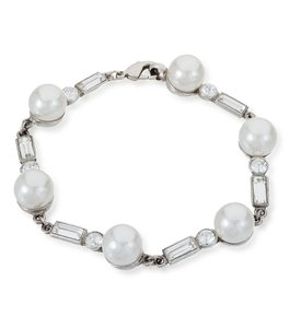 Ben-Amun Crystal And White Pearl Bracelet