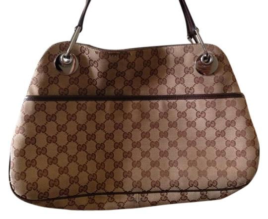 Gucci Logo Monogram Leather Silver Hardware Satchel in brown