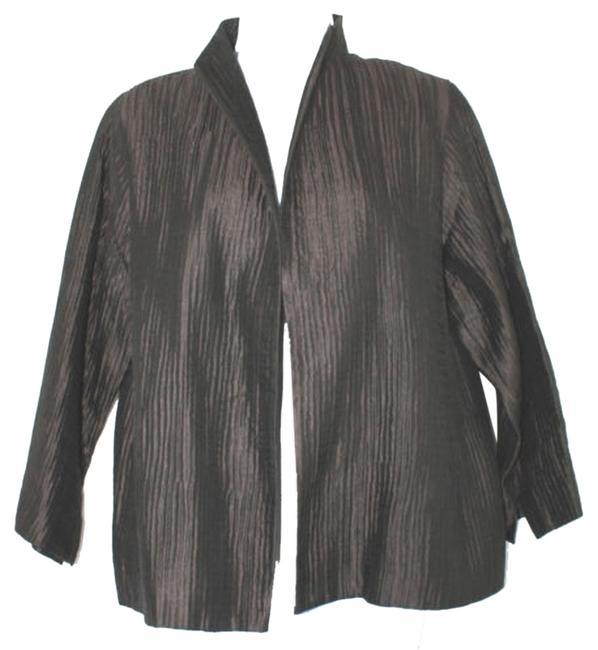 Eileen Fisher Textured Silk Dark Brown Blazer