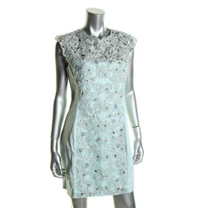 French Connection Teal/Gold Cotton Elastin Polyester Modern Bridesmaid/Mob Dress Size 12 (L)