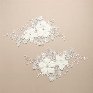 One Pair Of Luxurious Embroidered Ivory Bridal Lace Applique With Dimensional Flowers