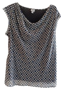 Worthington Top Black, white, blue pattern