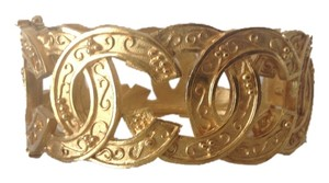 Chanel SALE ! CHANEL GOLD PLATED RARE VINTAGE '96A CC BRACELET CUFF