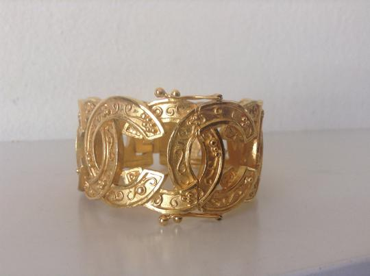 Chanel CHANEL GOLD PLATED RARE VINTAGE '96A CC BRACELET CUFF