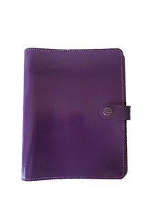 Filofax Personal Patent Leather Purple Agenda Notebook Calendar by Filofax