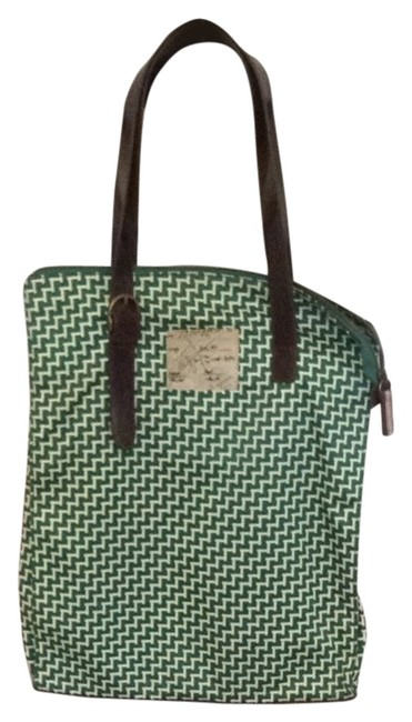 Item - Green and Cream Rayon Leather Trim Shoulder Bag