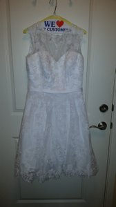 Alfred Angelo White Satin Lace Net 2429 Modern Wedding Dress Size 10 (M)