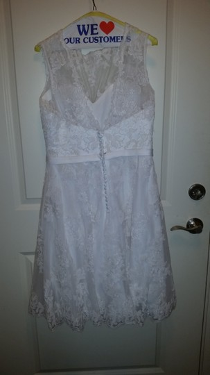 Alfred Angelo White Satin Lace Net 2429 Modern Wedding Dress Size 10 (M) Image 1