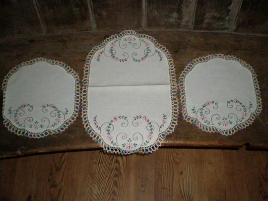 Crocheted And Embroidery Doilies Set
