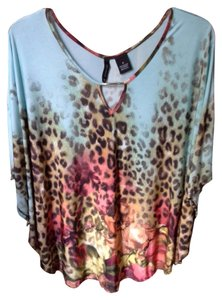 New Directions Top Turquiose, Leopard print, rose, yellow