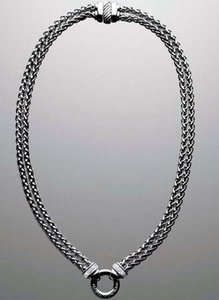 "David Yurman Silver Pave Double Wheat Chain 18""L Necklace"
