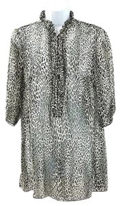 Other Animal Print Sheer Silk Top