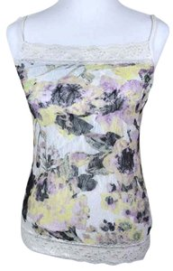Maurices Lace Lace Trim Adjustable Spaghetti Strap Straight Neckline Multicolored Spring Top white yellow purple black