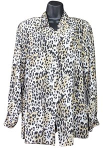 SUITSME Animal Print Silk Top