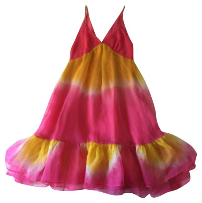 Item - Multi Color-pink and Yellow Knee Length Formal Dress Size 6 (S)