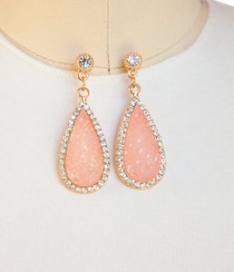 Hot Fashion Crystal Stone Teardrop Earrings/Pink!