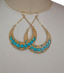 Aqua, Blue Color Stone with Gold Frame Dangle earrings!