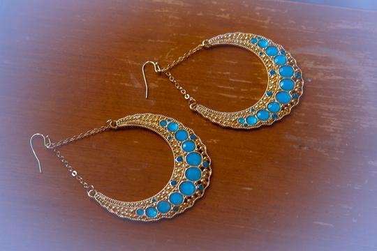 Other Aqua, Blue Color Stone with Gold Frame Dangle earrings!