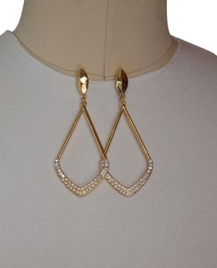 Clear Crystal Chevron Drop Earrings, Gold!