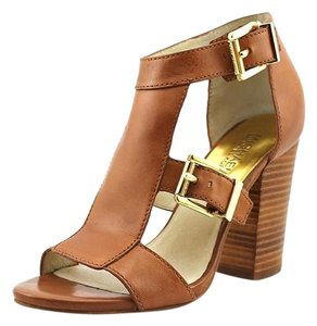 Michael Kors Sexy Work Business Night Out High Heel Stacked Heel Leather Brown/Tan Sandals