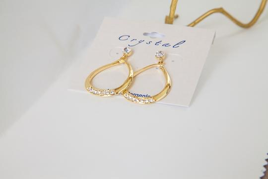 Other Gold, Clear Stone Oval Dangle Earrings!