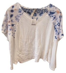 Free People T Shirt White with blue tie dye