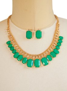 Green, Rectangular Decor Stacked Gold Chain Necklace Set!