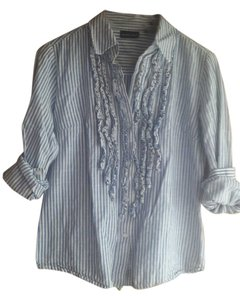 New York & Company Button Down Shirt Blue/White striped