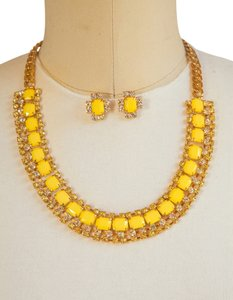 Other Square Shaped Golden Chain Necklace Set, Yellow!