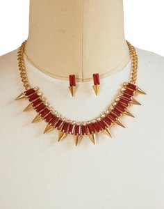 Other Brand New Dark Red Color Spike Baguette Bead Necklace set!