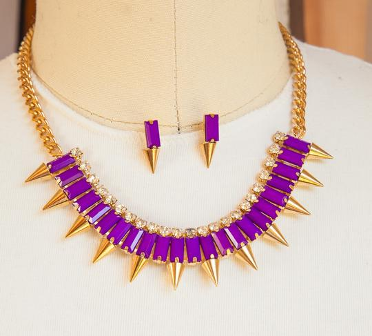 Other Purple, Brand New Spike Baguette Bead Necklace Set Gold Chain!