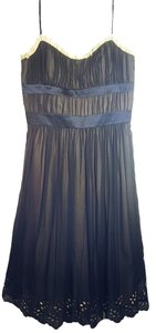 BCBG Paris Pleated Lace Trim Sweetheart Dress