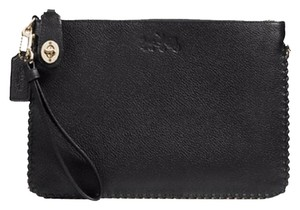 Coach Leather Pebble Leather Medium Whiplash Turnlock Wristlet in Black