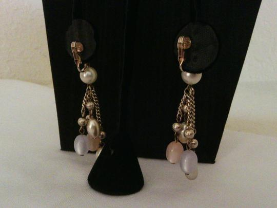 Pearls and Pastel Moonglow Beads Dangle Drop Gold Tone Earrings Pearls and Pastel Moonglow Beads Dangle Drop Gold Tone Earrings