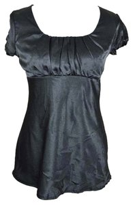 Maurices Empire Waist Sleeves Cap Sleeves Short Sleeves Medium Scoop Neck Top black