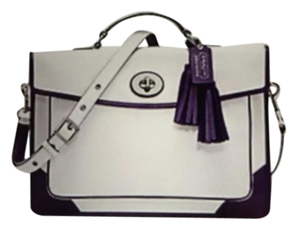 Coach Archival Two Toned Purple Slim Briefcase White Leather Laptop ... 9c03b239d7406