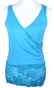 Matty M Light Turquoise Cross Over Front Lace Trim Banded Bottom Surplice Top blue