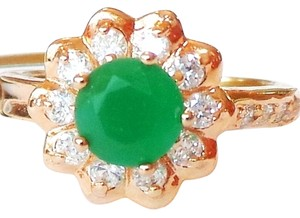 Other Lovely Dainty Genuine Natural Emerald and White Topaz 925 Sterling SIlver 14k Ring 6