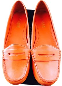 Lauren Ralph Lauren Corita Womens Loafer -- Size 8.5 Leather Loafer Driving Orange Flats