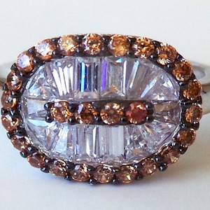 Stunning White and Brown Topaz 915 Sterling Silver Ring 8