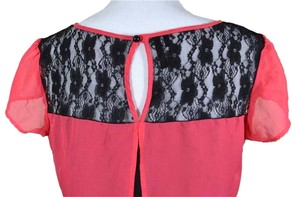 Maurices Split Back Lace Lace Yoke Trapeze Sheer Top cayenne neon red