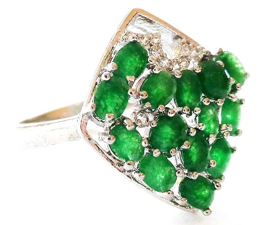 Other Beautiful Natural Genuine Columbian Emerald and Zircon Ring 8