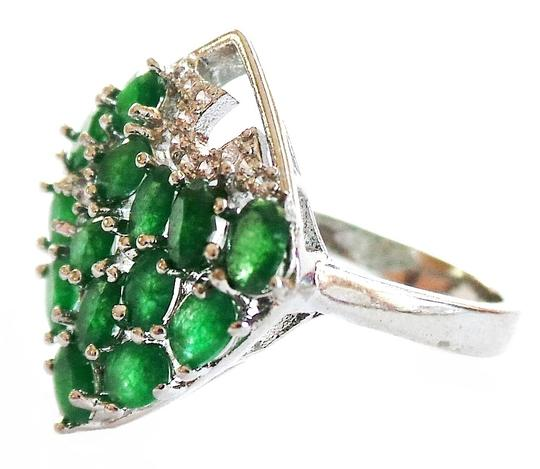 Other Stunning Natural Genuine Mined Columbian Emerald and Zircon Ring 8.5