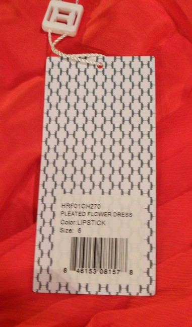 Halston Heritage Silk Pleated Size 6 One-shoulder Floral Detail Asymmetrical Dress