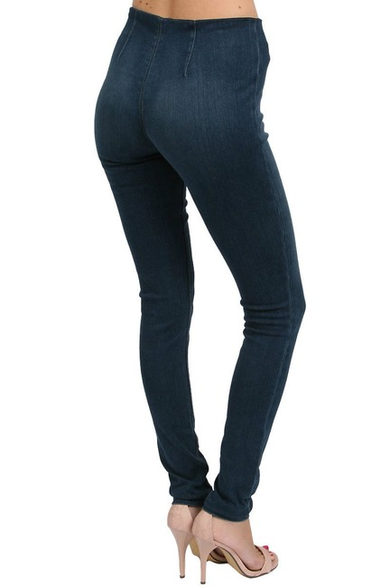 SOLD Design Lab Soho Super Pull On Legging Jegging Denim Pants Stretch Fashion Style Modern Cool Edgy Chic Elegant Sexy Slimming Women Skinny Jeans-Dark Rinse