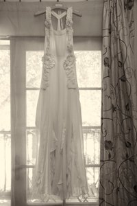 BHLDN Pale Peach Silk Avante-garde Gown Vintage Wedding Dress Size 2 (XS) - item med img