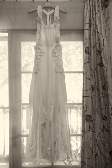 BHLDN Pale Peach Silk Avante-garde Gown Vintage Wedding Dress Size 2 (XS) Image 0