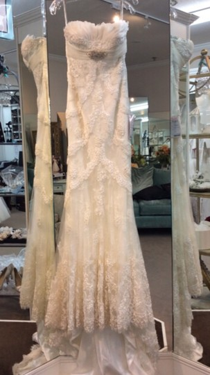 Pronovias Off White Lace Satin Feathers Dietrich Modern Wedding Dress Size 8 (M) Image 1